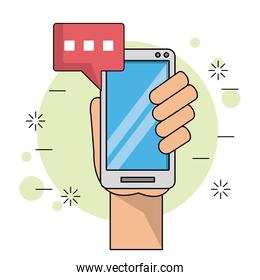 color background with left hand holding smartphone with text dialogue in red