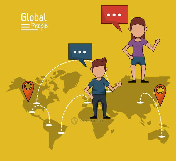 poster of global people with yellow background with map of the world and map pointer route and communications networks
