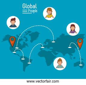 poster of global people with blue background with map of the world and map pointer route