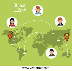 poster of global people with light green background with map of the world and map pointer route
