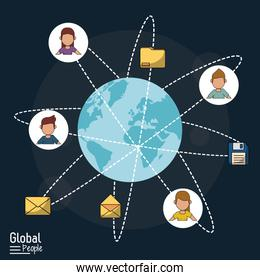 poster of global people with dark blue background with world globe and global communication links