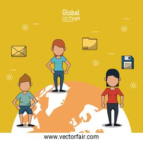 poster of global people with yellow background with people and information over planet earth