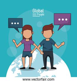 poster of global people with light blue background with faceless couple over planet earth and text dialogues
