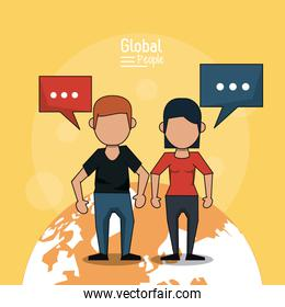 poster of global people with light orange background with faceless couple over planet earth and text dialogues