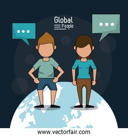 poster of global people with dark blue background with faceless couple over planet earth and text dialogues