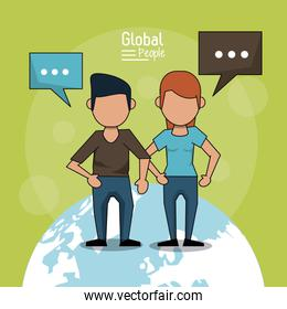 poster of global people with light green background with faceless couple over planet earth and text dialogues