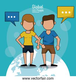 poster of global people with blue background with faceless couple in short pants over planet earth and text dialogues