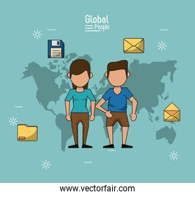 poster of global people with light blue background with map of the world and couple in closeup with information icons