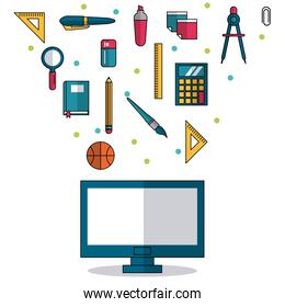 white background with computer in closeup and colorful smaller icons of elements of school
