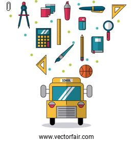 white background with school bus in closeup and colorful smaller icons of elements of school