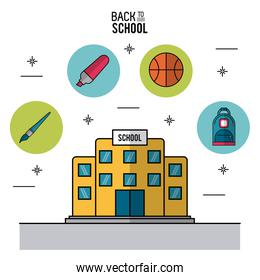 color poster of back to school with school building in closeup and icons in round frames of elements of school on top