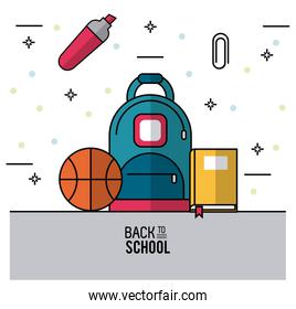 color poster of back to school with backpack in closeup and basketball ball book and paperclip and marker