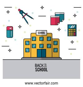 color poster of back to school with school bulding in closeup and eraser and compass and sheets and calculator on top