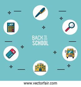 light blue background poster of back to school with essential school icons in round frames