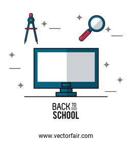 color poster of back to school with computer in closeup with compass and magnifying glass