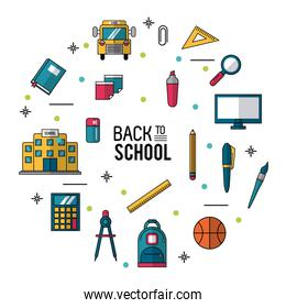 color poster of back to school with essential elements of school