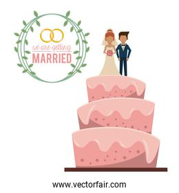 colorful poster of we are getting married with wedding cake with couple married on top