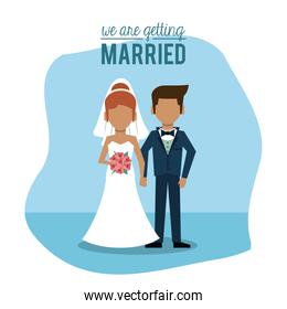 blue background poster of we are getting married with faceless couple of just married