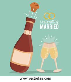 colorful poster of we are getting married with champagne bottle with cork blow up and champagne glasses