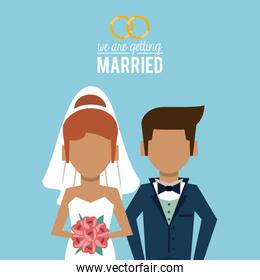 colorful poster of we are getting married with faceless half body of couple of just married
