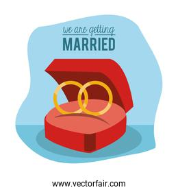 colorful poster of we are getting married with engagement rings in blue background