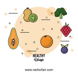 colorful poster healthy lifestyle with set of fruits papaya kiwi orange grapes blueberry and broccoli