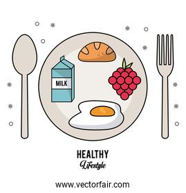 white background of healthy lifestyle with cutlery set and dish with milk box and bread fried egg and grapes