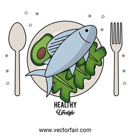 white background of healthy lifestyle with cutlery set and dish with fish and lettuce and avocado