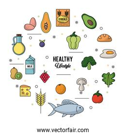 white background of healthy lifestyle with colorful set of foods