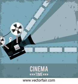 colorful poster of cinema time with film in background and movie projector