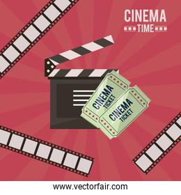 colorful poster of cinema time with film tape in background and clapperboard and tickets