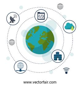 color background with earth globe in closeup and network storage icons around