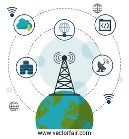 color background with earth globe in closeup and network communication icons on top