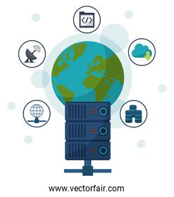 color background with earth globe and network server in closeup and communication icons around