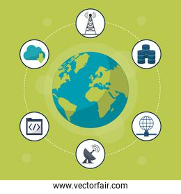 green background with earth globe in closeup and networking icons around