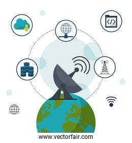 color background with earth globe in closeup with satellite antenna and network communication icons on top