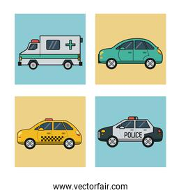 white background with square set of vehicles of transport ambulance cab police car and automobile