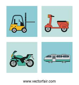 white background with square set of vehicles of transport forklift motorcycle scooter and train wagon