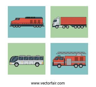 white background with square set of vehicles of public transport