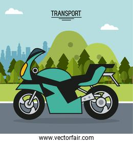 colorful poster of transport with motorcycle in outdoor landscape
