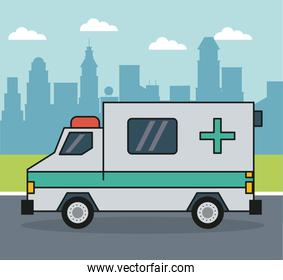 colorful background with ambulance on the outskirts of the city