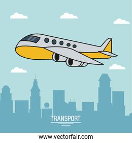 colorful poster of air transport with airplane in flight over city