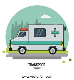 colorful poster of transport with ambulance vehicle on background outskirts of the city in shape of sphere