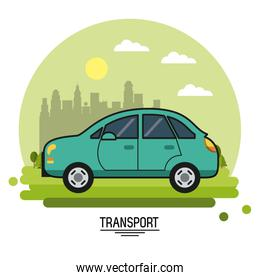 colorful poster of transport with automobile on background outskirts of the city in shape of sphere
