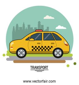 colorful poster of transport with taxi on background outskirts of the city in shape of sphere