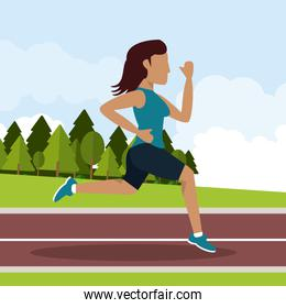 colorful background with female athlete running in athletic track with long hair