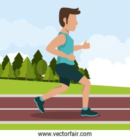 colorful background with male athlete jogging in athletic track