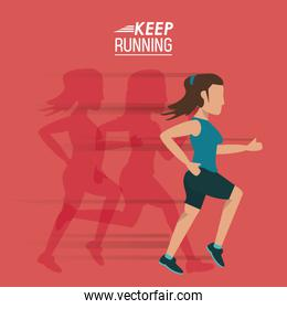 red background of poster keep running with female athlete with shadows him behind