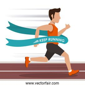 colorful background with man athlete running in track and crossing the finish line