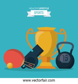 blue background of healthy lifestyle sports with trophy and kettlebell and whistle and ping pong racket
